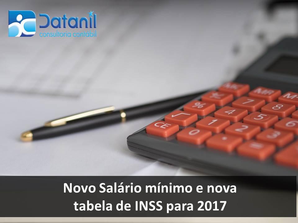 Novo Salário Mínimo E Nova Tabela De INSS Para 2017
