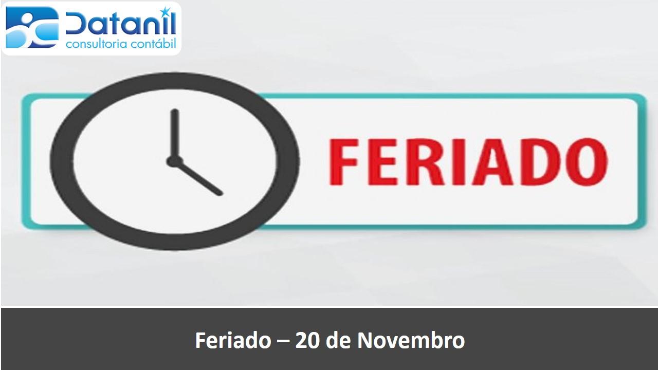 Feriado – 20 De Novembro